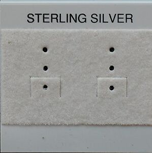 25 Hanging Gray Plastic Flocked Earring Cards 2 X 2 Sterling Silver