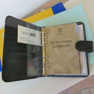Compact 1 Rings Franklin Covey 365 Planner Binder Organizer Black white Snap