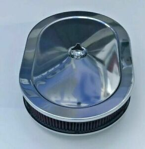 Chrome Air Cleaner Steel Oval 12 Red Washable Filter 383 440 318 340 New