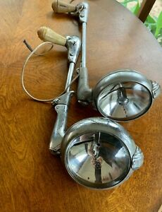 2 Vintage Unity Mfg Co H1 Spot Lights With Ge Glass Chicago Usa