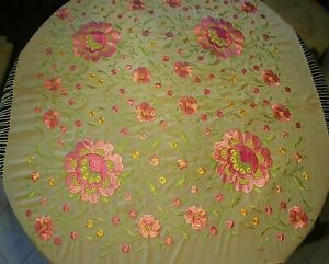 Antique Silk Embroidered Floral Piano Shawl With Fringe