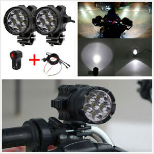 Pair 120W 7800LM LED Motorcycle Headlights Fog Spotlight+Switch+Connecting Line $83.94