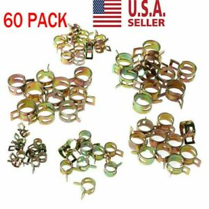 60pc Spring Clips Fuel Hose Line Water Pipe Air Tube Clamps 7 10 11 14 16 17mm