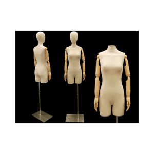 Female Adult Off White Linen Dress Form Mannequin With Head Flexible Arms