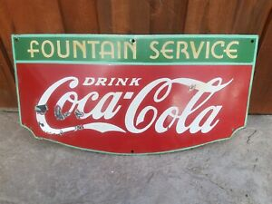 ***ORIGINAL PORCELAIN FOUNTAIN SERVICE COCA-COLA SIGN***