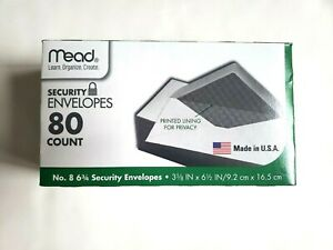 Mead Security Envelopes 80 Count Printed Lining For Privacy 3 5 8 X 6 1 2