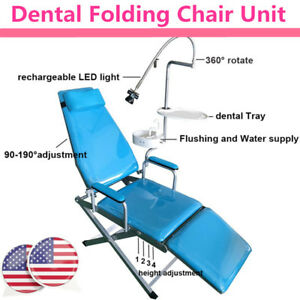 Portable Folding Chair rechargeable Led Light dental Tray waste Basin Dental New