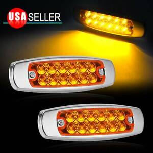 2x Amber 6 2 12led Side Marker Clearance Light Waterproof Car Trailer Truck 12v