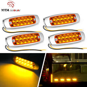 Yitamotor Amber 4x 12 Led Side Clearance Marker Light Truck Trailer Signal Light