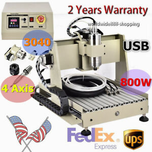 4 Axis Cnc 3040 Router Engraver Wood Engraving 3d Cutter Milling Machine Usb