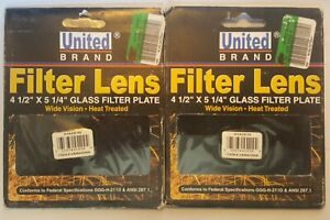 2 New United Brand Welding Helmet Glass Filter Lens Plate 4 5 X 5 25 aa1 2
