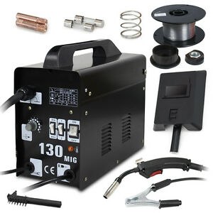 Welder Gas Mig 130 Less Flux Core Wire Automatic Feed Welding Machine W Mask