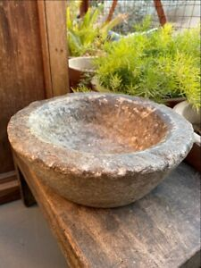 1800 S Ancient Old Hand Caved Beautiful Stone Mortar Bowl Garden Decorative Bowl