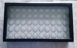 1 Glass Top Lid Black 50 Space Jewelry Display Box Case Rings Charms Small Items