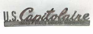 Vintage Us Capitolaire Radiator Metal Emblem Ornament Nameplate Script Trim Read