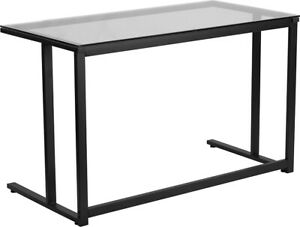 Modern Sleek Computer Desk With Tempered Clear Glass Top Black Metal Frame