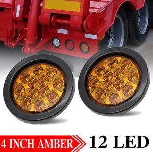 2x 12 Led Amber 4 Round Stop Tail Turn Signal Light Truck Tractor Trailer Bus