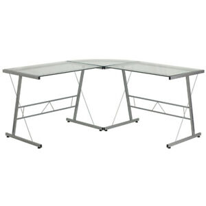 L shape Computer Desk With Clear Tempered Glass Top Silver Metal Frame