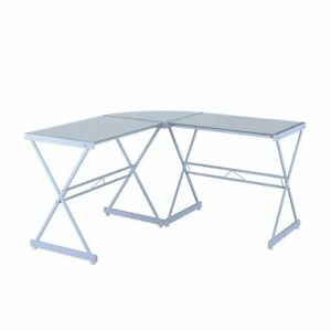 L shape Computer Desk With Tempered Glass Top White Metal Frame