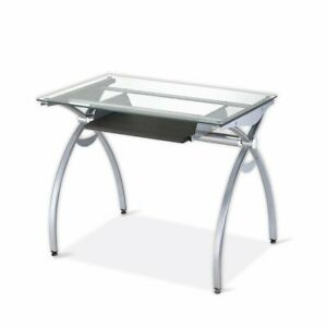 Computer Desk With Clear Tempered Glass Top Keyboard Tray Metal Frame