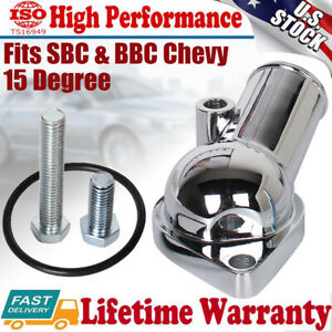15 Degree Water Neck Thermostat Housing O ring For 1967 1986 Chevy 350 Chrome