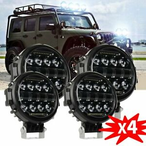 4x 7 Inch 120w Round Led Work Light Combo Drl Offroad Suv Bumper Driving Pods