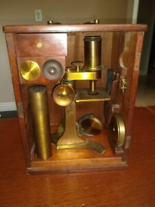 Antique Brass Microscope Unknown Manufacture Wooden Case