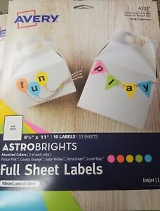 Lot Of 3 Packs Avery Astrobrights Color Easy Peel Full sheet Labels 8 1 2 X 11