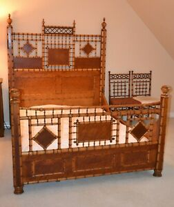 Gorgeous Antique1890 S Birdseye Maple Faux Bamboo Victorian Bed Frame Full Size
