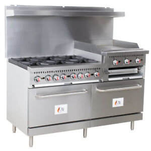 60 6 Burner Restaurant Propane Range With 24 Griddle broiler And 2 Ovens