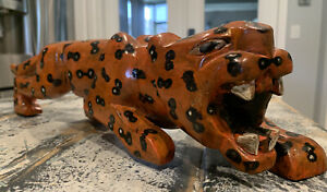 Hand Carved Painted Wooden Animal Tiger Figure Toy Statue 18 Length