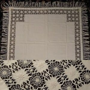 Antique Vintage White Linen Spiderweb Lace Tassle Tablecloth Alter Cloth