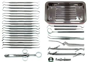 Dental Amalgam Composite Tray Setup Stainless Steel Instruments Set Of 30