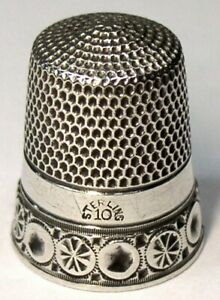Antique Simons Bros Sterling Silver Thimble Chased Rosettes Circles C1880s