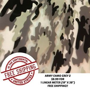 Hydrographic Water Transfer Hydro Dipping Army Camo Grey 2 Film 1m 19 x38