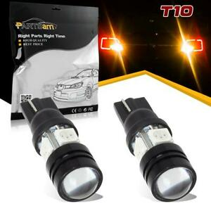 2x Amber 921 T10 194 Led Projector Lens Cree Bulbs Backup Reverse Lights Lamps