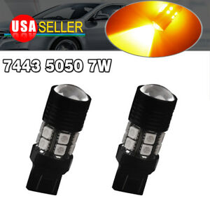 2x 7443 7440 Amber Yellow High Power Backup Reverse Led Interior Light Bulbs