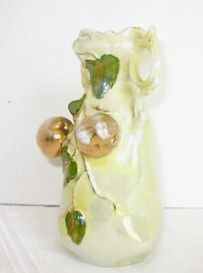 Antique Lusterware Vase Apples Porcelain Yellow And Gold Art Nouveau 6 1 2 Tall