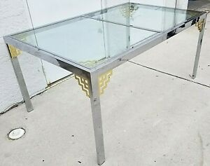 Mcm 1970 S Mastercraft Style Hollywood Regency Chrome And Glass Dining Table 60