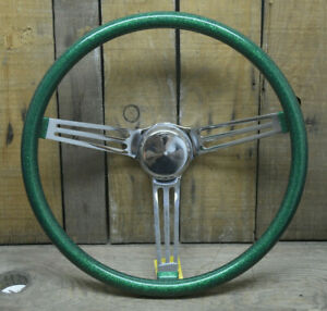 Vtg Style 15 Green Metalflake Steering Wheel Hot Rod Custom Gasser Rat Boat Vw