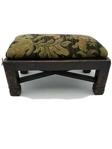 Antique Mission Oak Foot Stool Removable Cushion Horse Hair Stuffing
