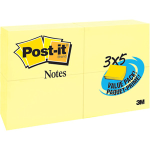 Post it Notes 655 24vad b 3 In X 5 In 76 Mm X 127 Mm Canary Yellow