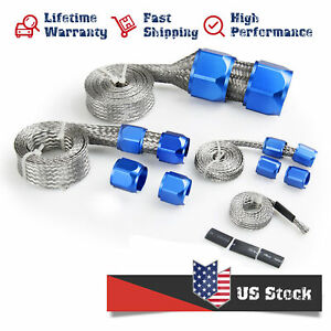 Flex Braid Hose Sleeve Kit Stainless Steel Cover Radiator Heater Fuel Line Blue