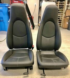 Porsche 987 Boxster Cayman Oem Factory Genuine Black Leather Seats