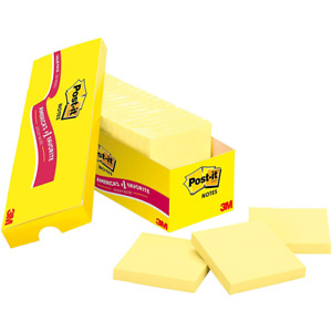 Post it Notes 654 24cp 3 In X 3 In 76 Mm X 76 Mm Canary Yellow
