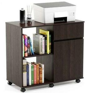 Home Office File Cabinet Mobile Printer Stand With Storage With Door Drawers