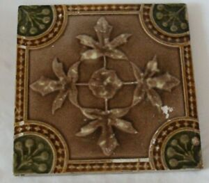 English Aesthetic Symmetric Raised Majolica Floral Design Tile
