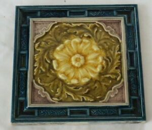English Floral Majolica Aesthetic Colourful Period Tile