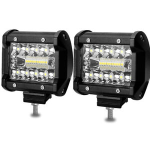 4 Inch 60w Square Led Pods Light Bar Beamcorn Spot Flood Driving Backup Lights