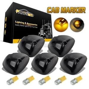 5pcs Cab Roof 264141bk Smoke Marker Light 10 3528 194 Amber Led For Dodge 94 98